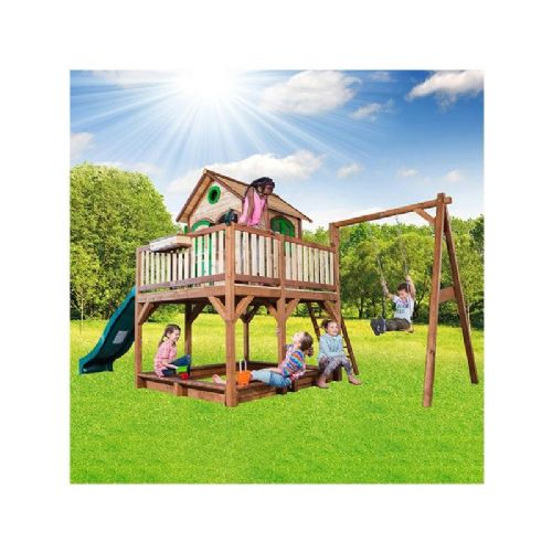 Caister Playhouse - Kids Wooden Lookout post Wendy House With Big Wavy Slide, Swing and Sandpit